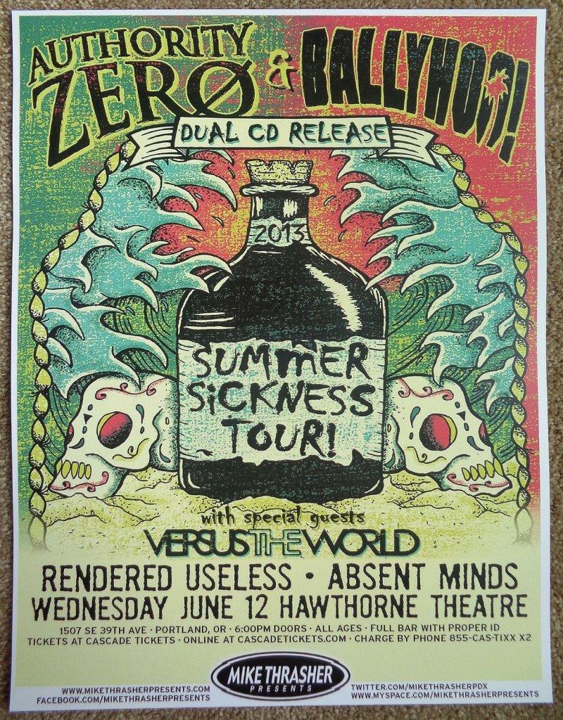 AUTHORITY ZERO 2013 Gig POSTER Portland Oregon Concert