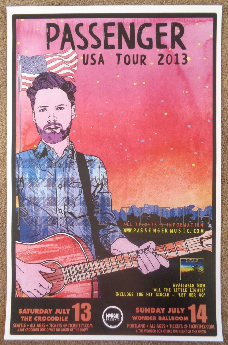 Image 0 of PASSENGER 2013 Gig POSTER Portland Oregon & Seattle Mike Rosenberg Concert