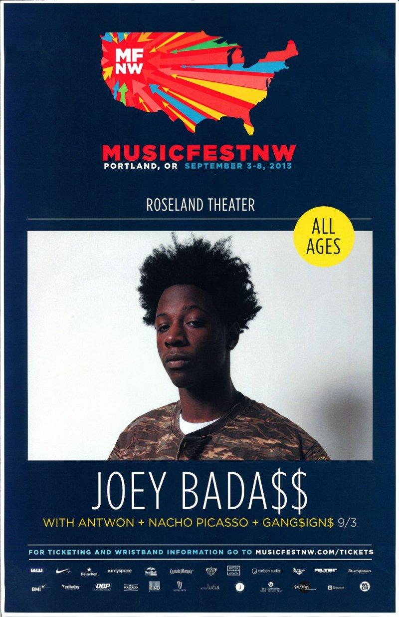 Badass JOEY BADA$$ 2013 Gig POSTER MFNW Musicfest NW Portland Oregon Concert
