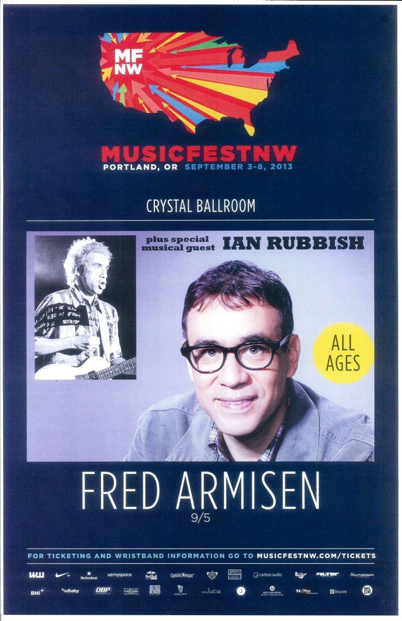 Armisen FRED ARMISEN 2013 Gig POSTER MFNW Portland Oregon Musicfest NW Comedy