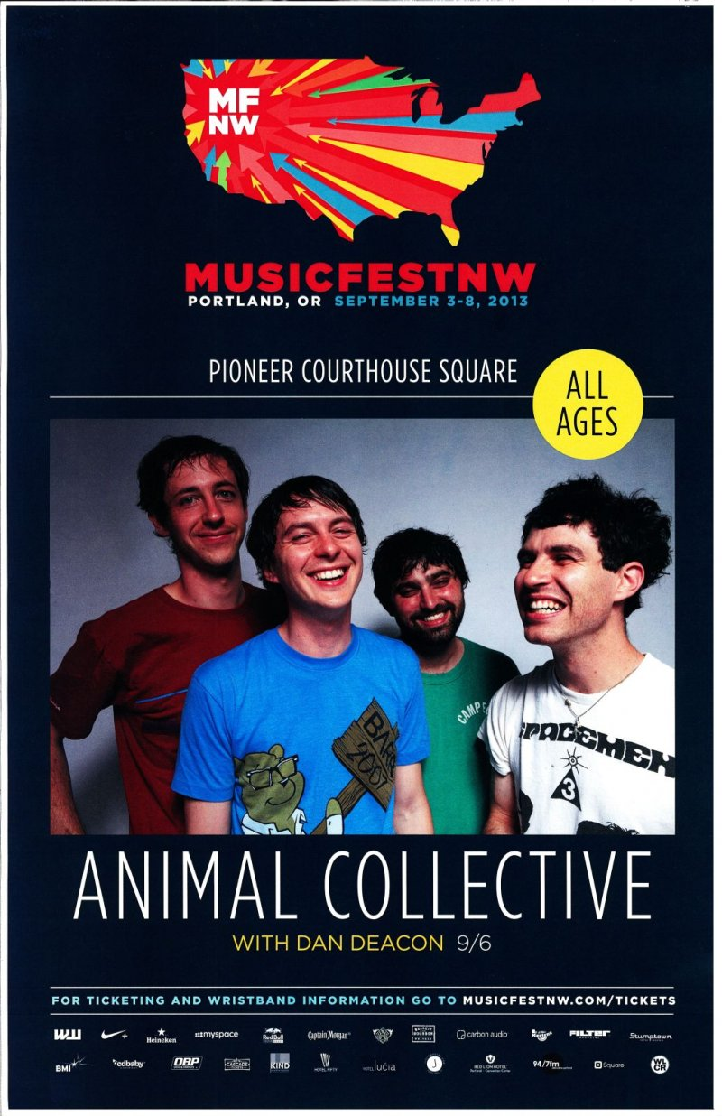 ANIMAL COLLECTIVE 2013 Gig POSTER MFNW Portland Oregon Musicfest NW Concert