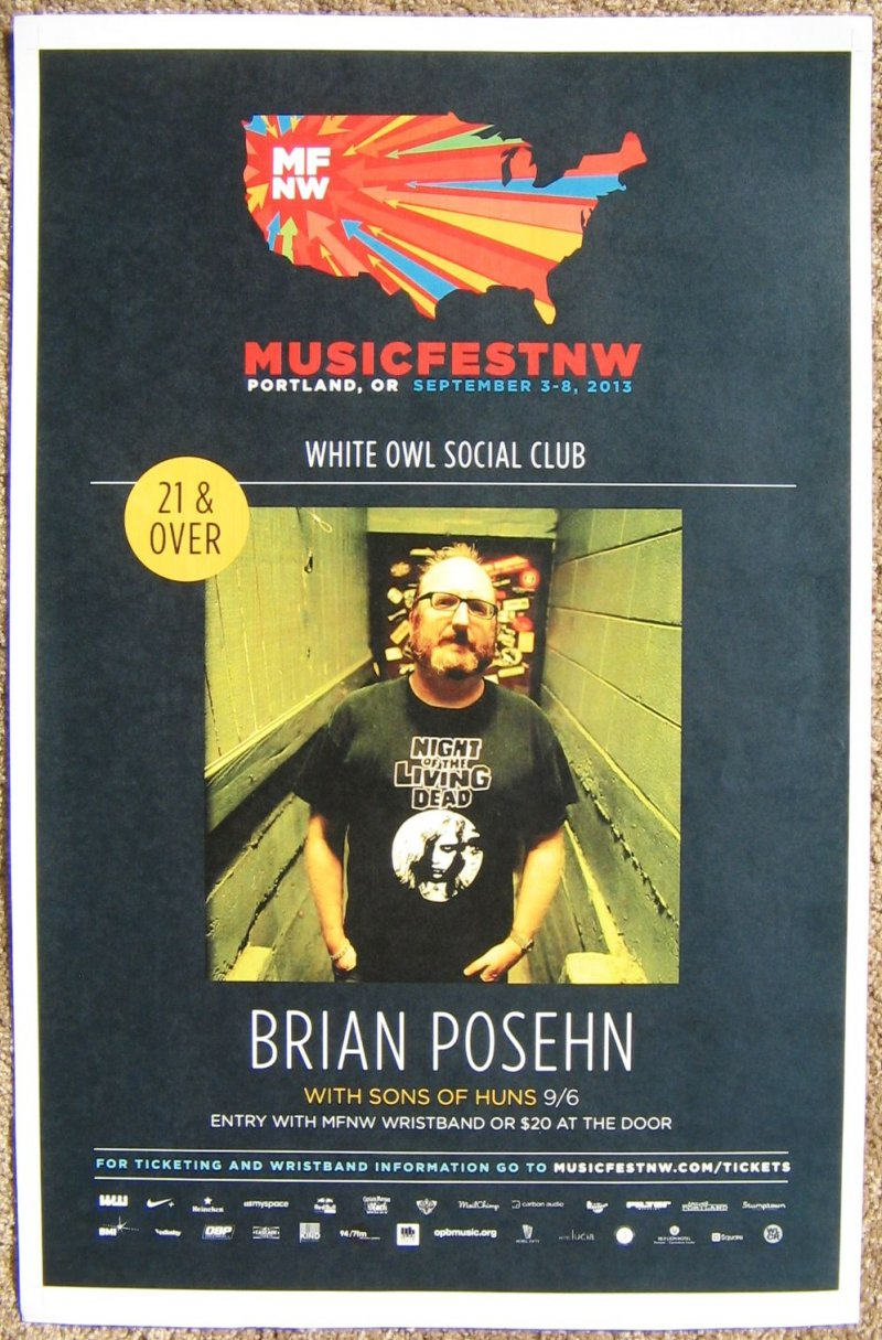 Image 0 of Posehn BRIAN POSEHN 2013 Gig POSTER MFNW Portland Oregon Musicfest NW Comedy