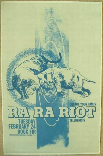 RA RA RIOT 2009 Gig POSTER Portland Oregon Concert