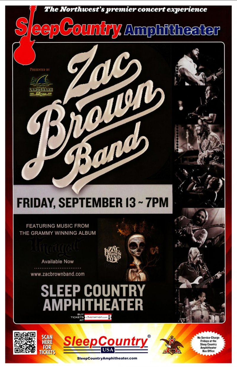Brown ZAC BROWN BAND 2013 Gig POSTER Ridgefield Washington Concert
