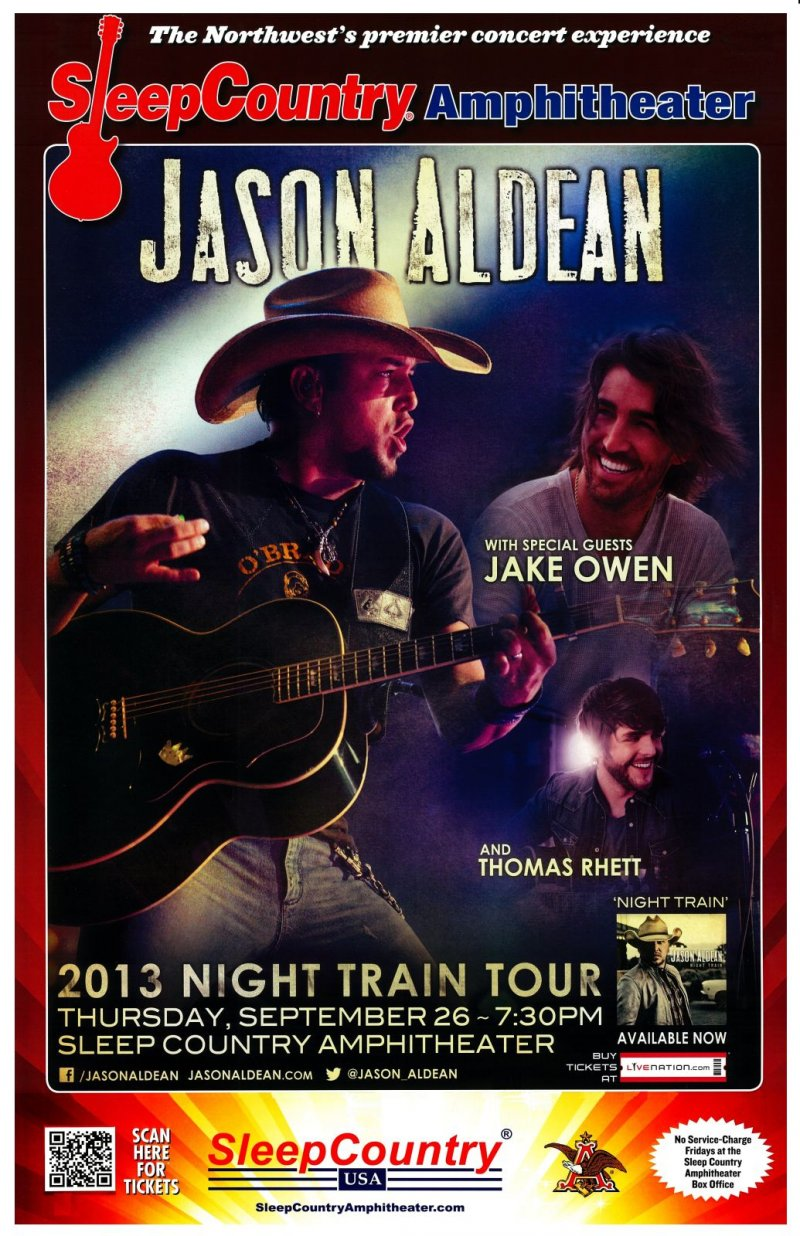 Aldean JASON ALDEAN   JAKE OWEN   THOMAS RHETT Gig POSTER 13 Washington Concert
