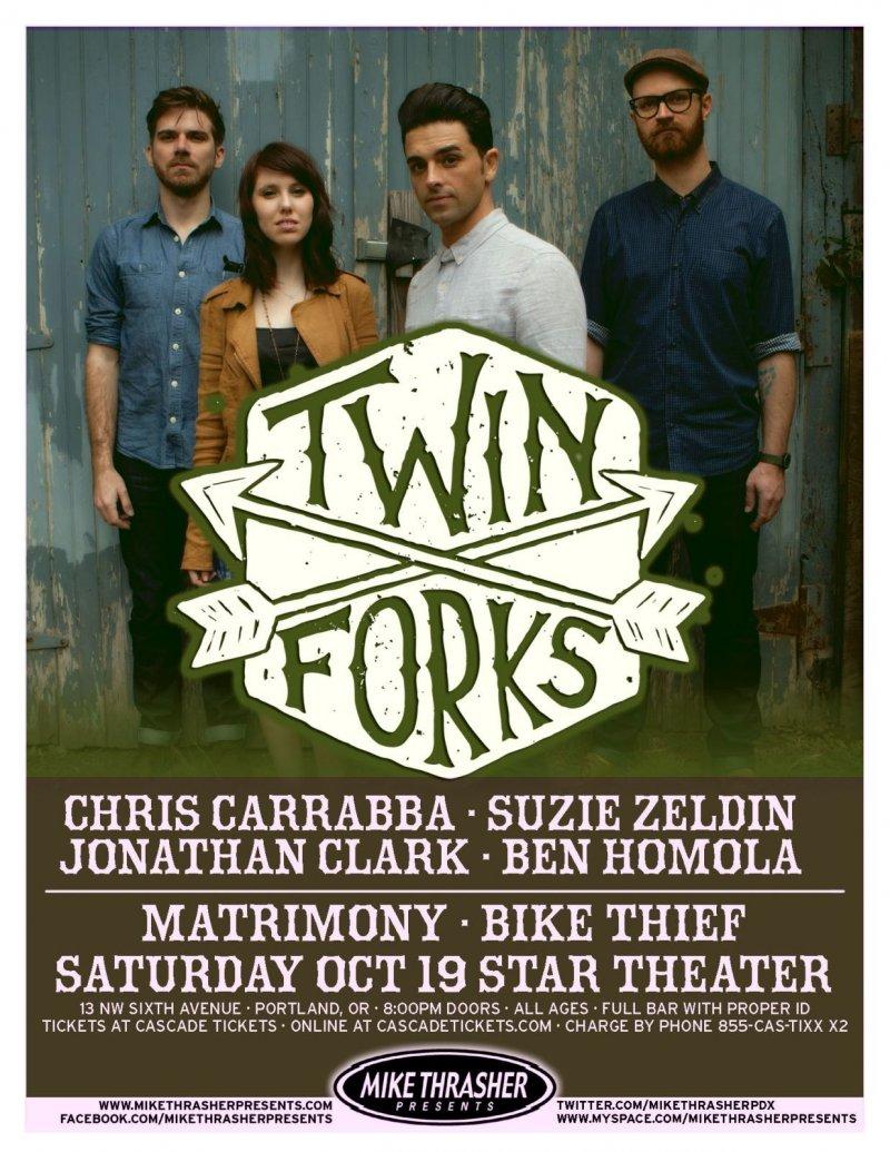 Image 0 of TWIN FORKS 2013 Gig POSTER Portland Oregon Concert DASHBOARD CONFESSIONAL