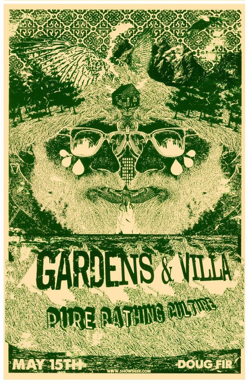 GARDENS & VILLA 2014 Gig POSTER Portland Oregon Concert