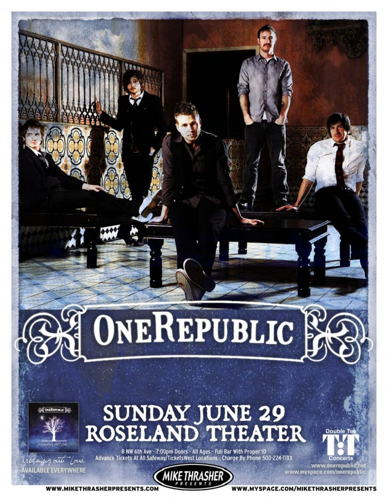 Image 0 of ONE REPUBLIC 2008 Gig POSTER Portland Oregon Concert