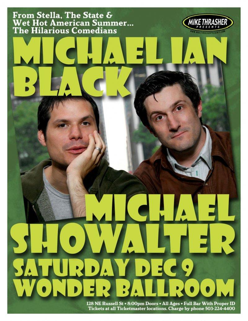 Black MICHAEL IAN BLACK & MICHAEL SHOWALTER Gig POSTER 2006 Comedy Portland Oreg