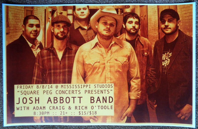 Abbott JOSH ABBOTT BAND 2014 Gig POSTER Portland Oregon Concert
