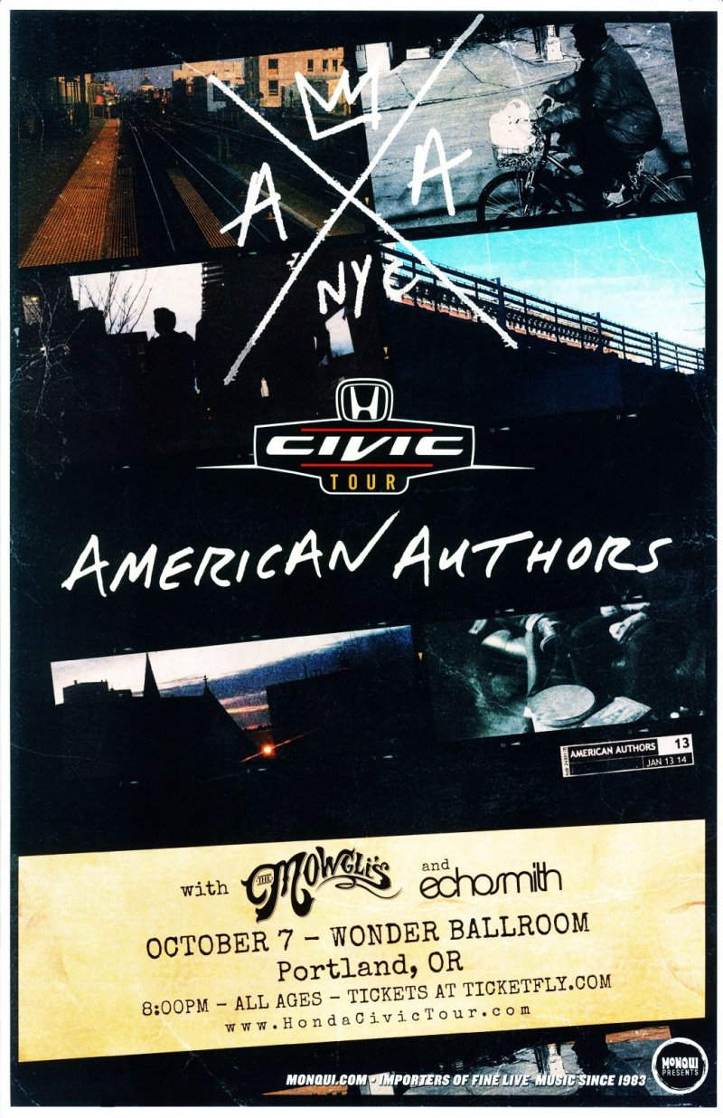 AMERICAN AUTHORS 2014 Gig POSTER Portland Oregon Concert Oh, What A Life