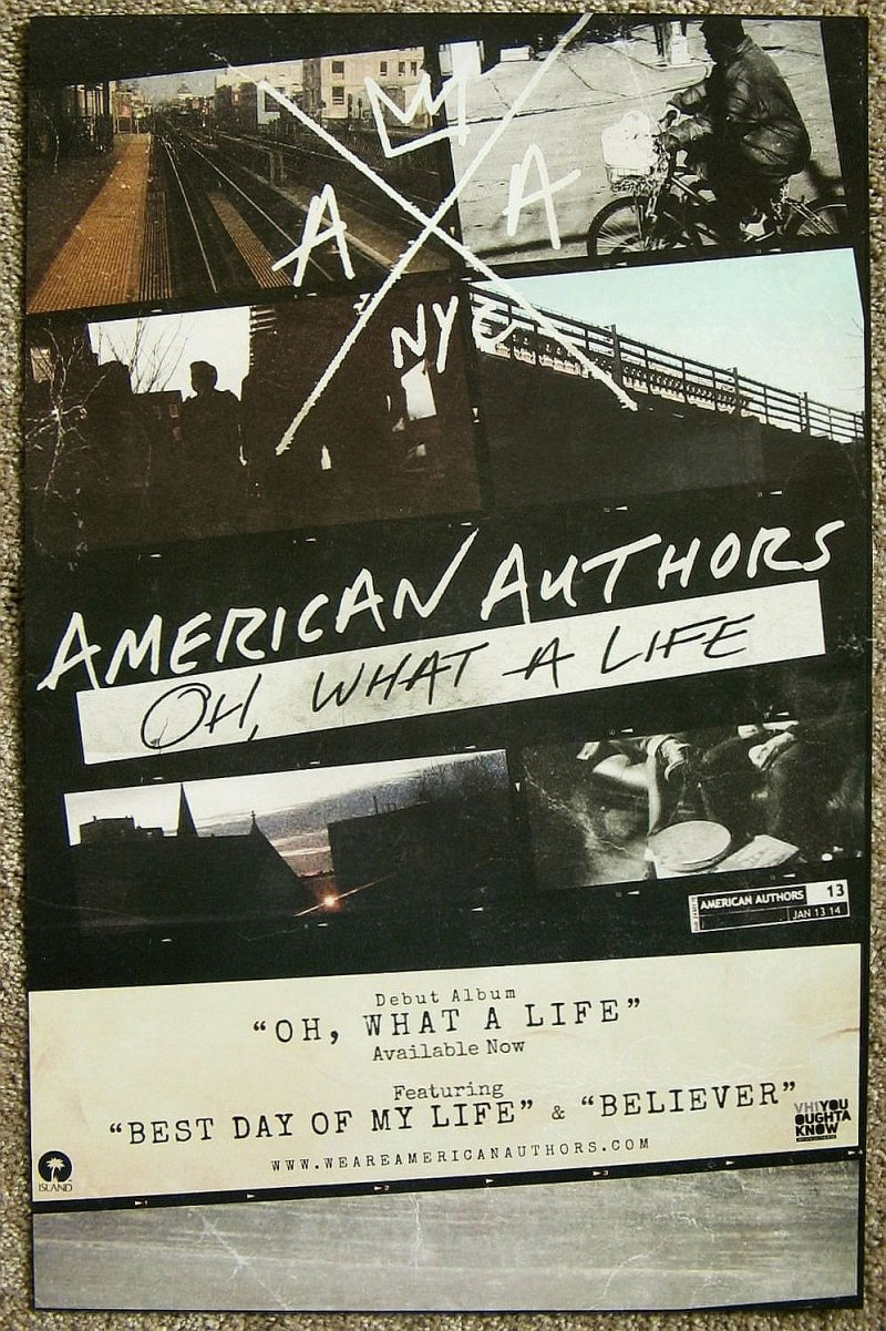 Image 1 of AMERICAN AUTHORS Album POSTER 2-Sided Oh, What A Life