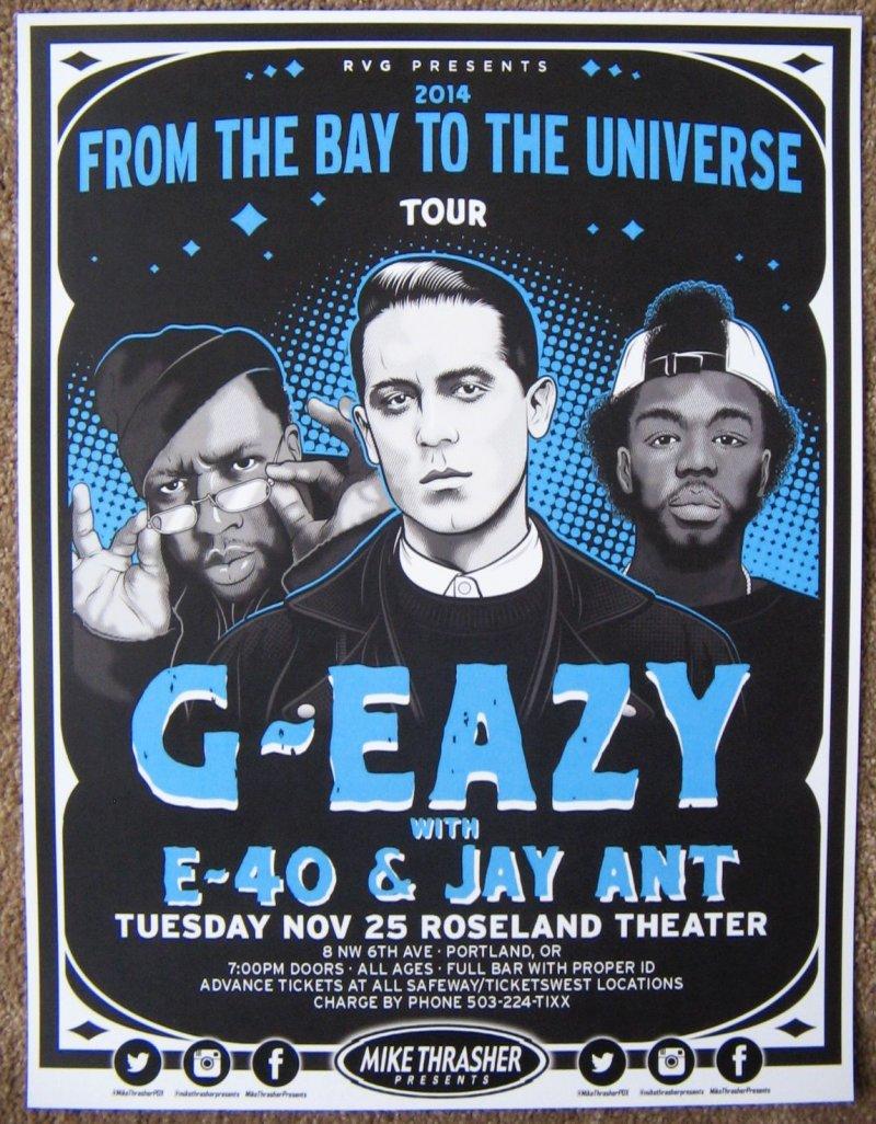 G EAZY 2014 Gig POSTER Portland Oregons Concert GEazy Bay To The Universe Tour