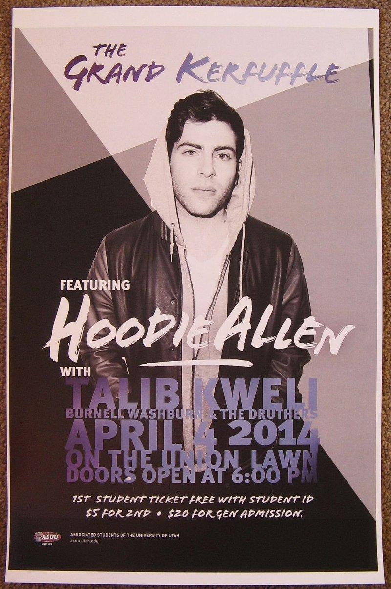 Allen HOODIE ALLEN 2014 Gig POSTER Salt Lake City Concert Utah TALIB KWELI