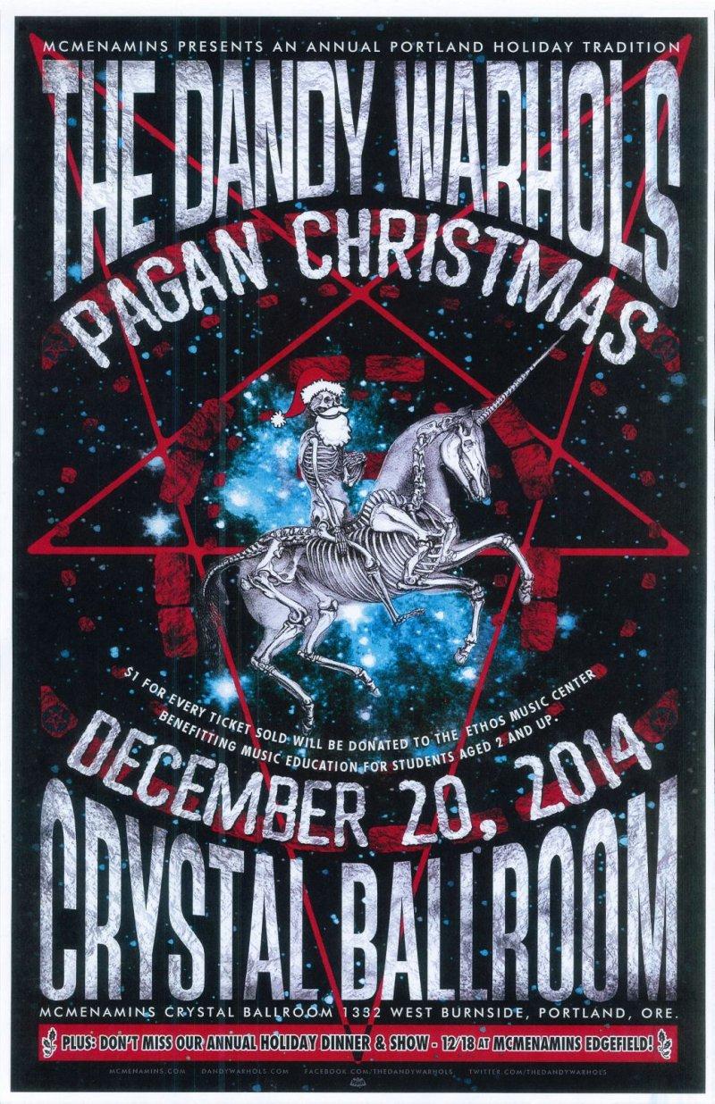 Image 0 of DANDY WARHOLS 2014 Gig POSTER Portland Oregon Concert Pagan Christmas