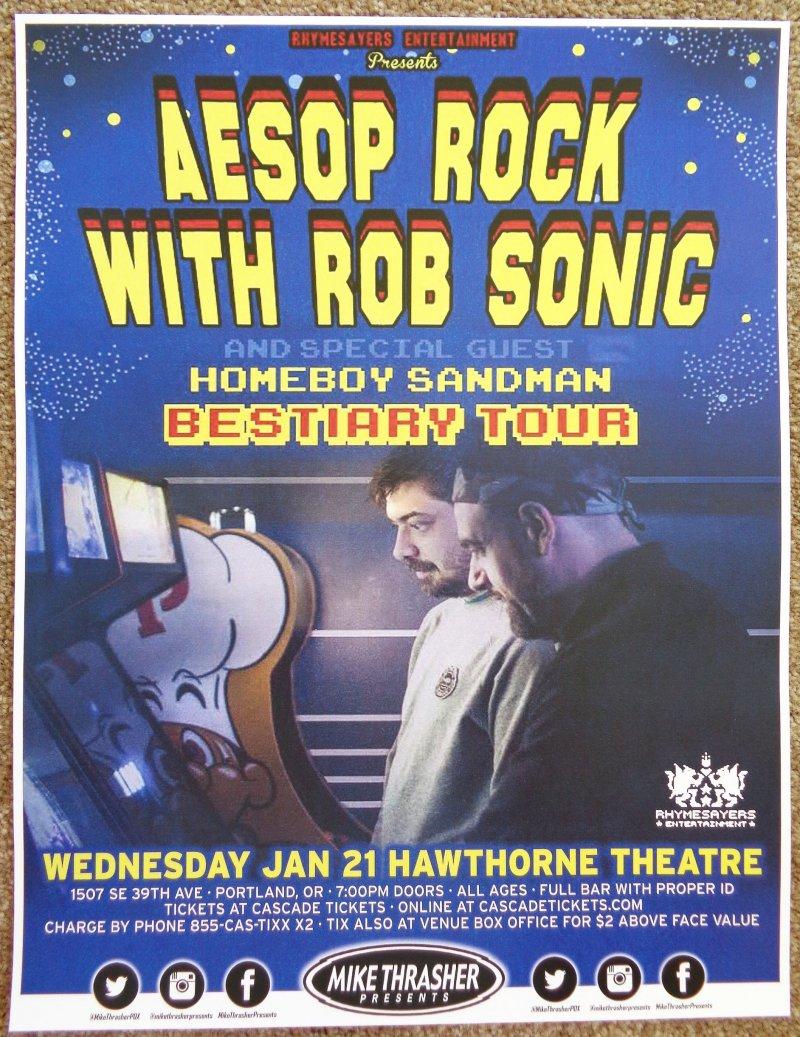 AESOP ROCK Gig POSTER 2015 ROB SONIC Portland Oregon Concert
