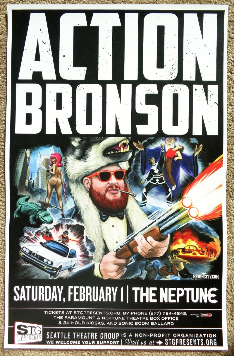 Image 0 of ACTION BRONSON 2014 Gig POSTER Seattle Concert Washington