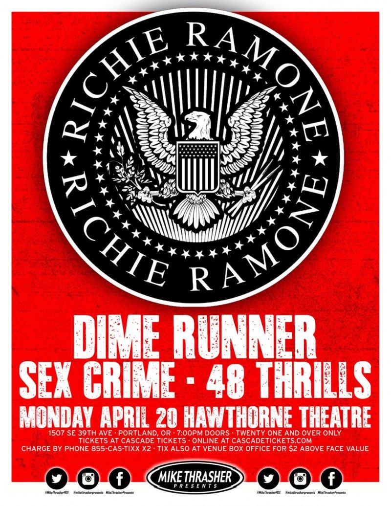 Ramone RICHIE RAMONE 2015 Gig POSTER of THE RAMONES Portland Oregon Concert