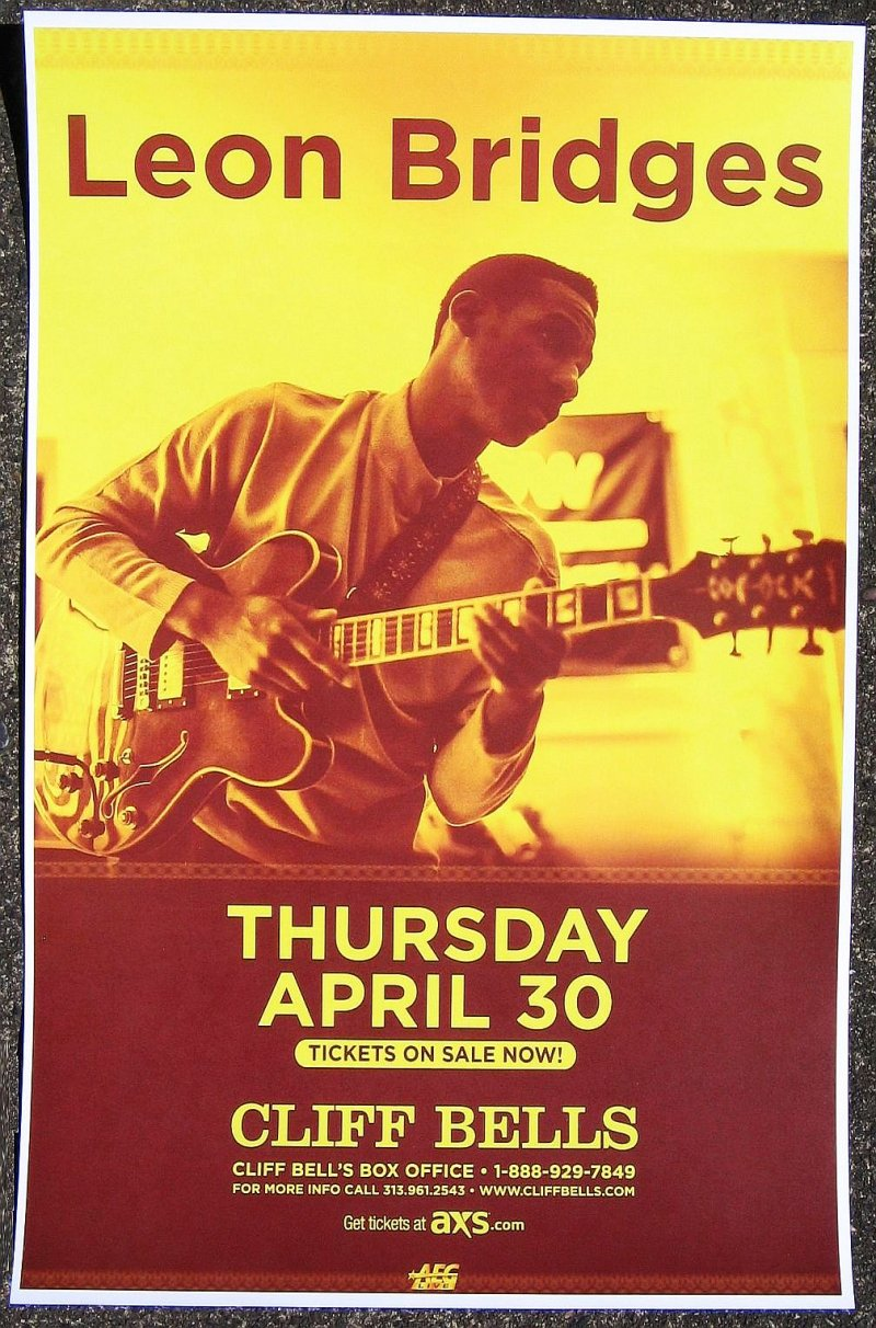 Bridges LEON BRIDGES 2015 Gig POSTER Detroit Michigan Concert