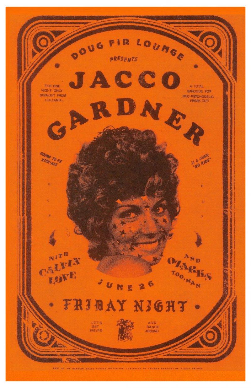 Gardner JACCO GARDNER 2015 Gig POSTER Portland Oregon Concert
