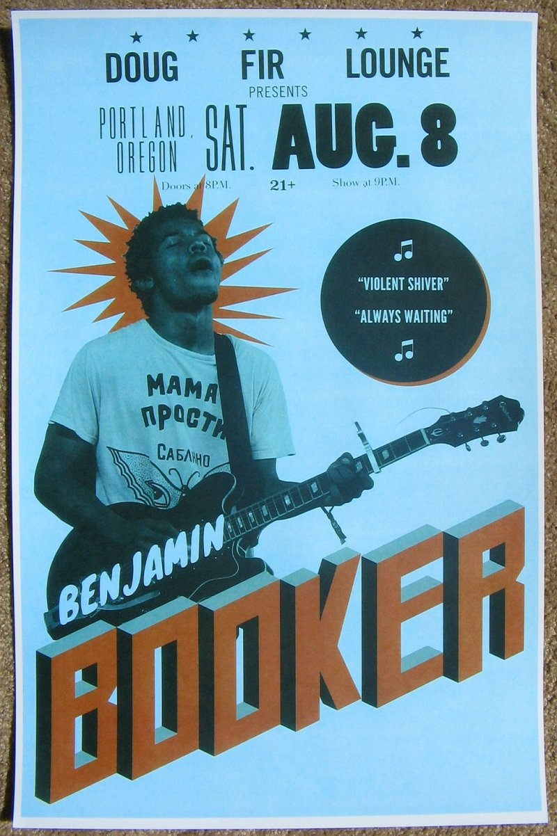 Booker BENJAMIN BOOKER 2015 Gig POSTER Portland Oregon Concert