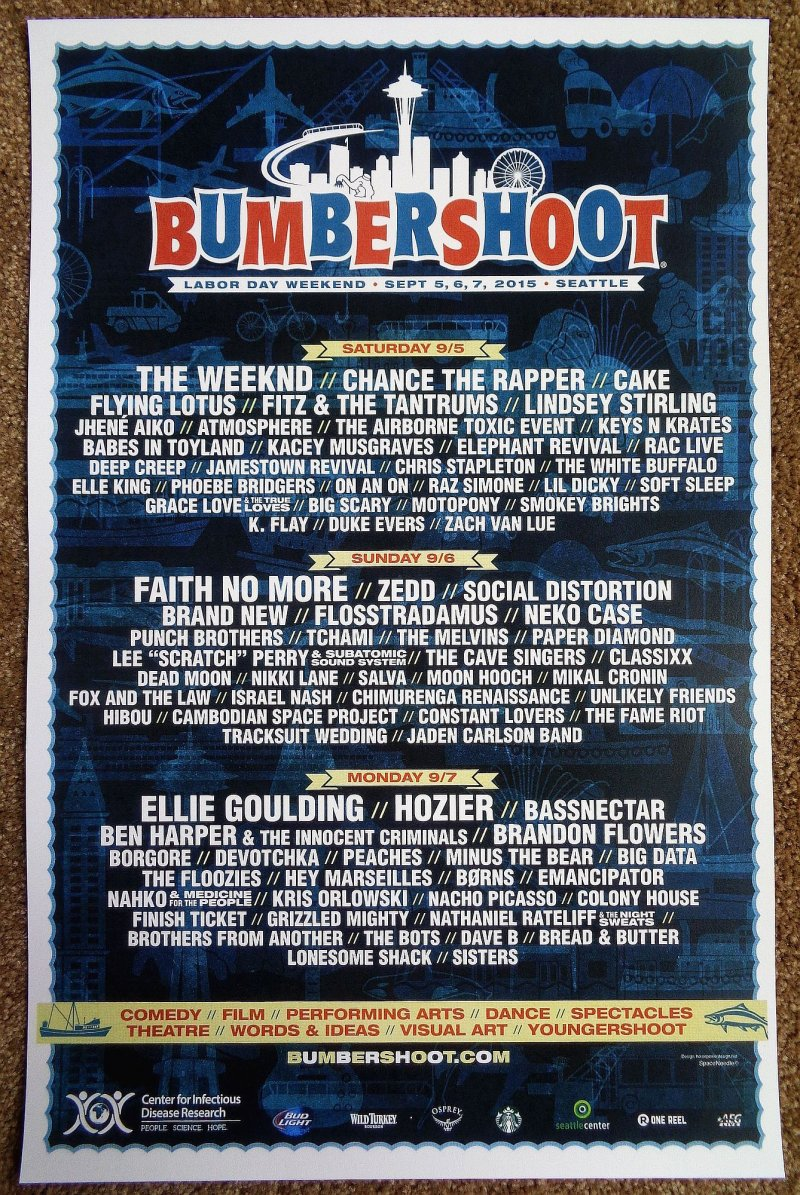 BUMBERSHOOT FESTIVAL 2015 POSTER The Weeknd   Babes In Toyland   Hozier Vers. 1