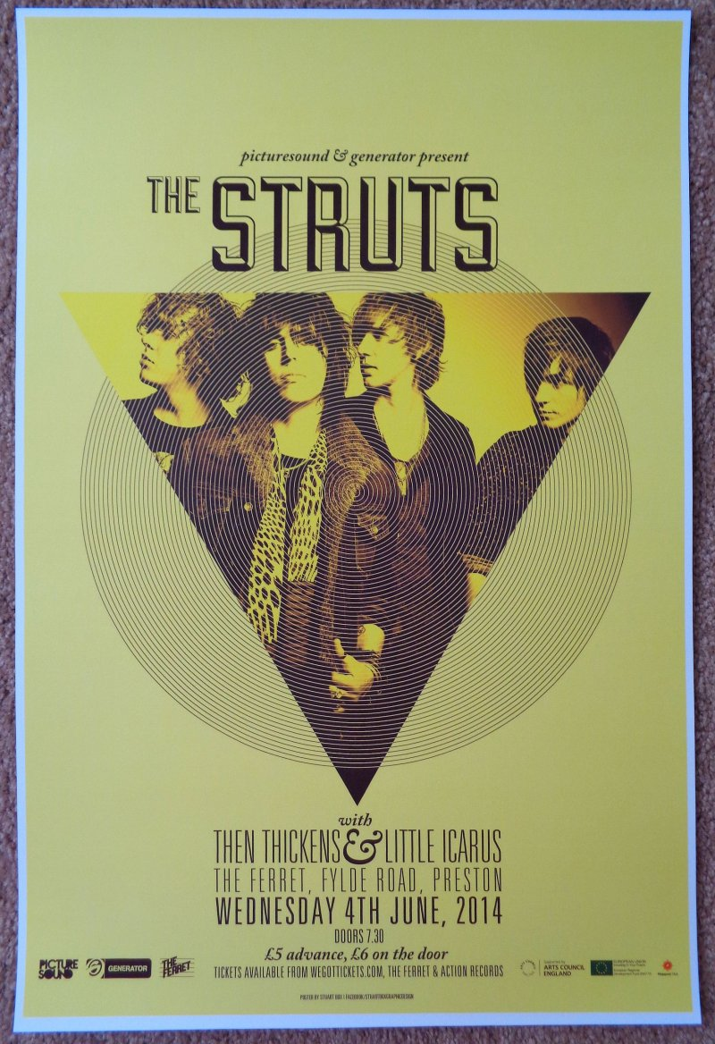 Image 0 of Struts THE STRUTS 2014 Gig POSTER Preston UK Concert