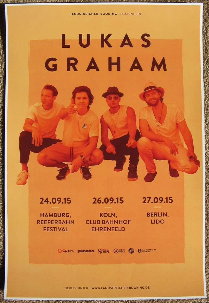 Image 0 of Graham LUKAS GRAHAM 2015 Gig POSTER Germany Concert Hamburg Berlin