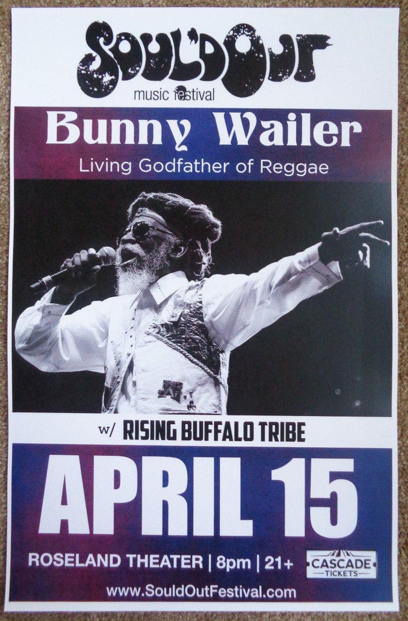 Wailer BUNNY WAILER 2016 Gig POSTER Portland Oregon Concert Soul'd Out Festival