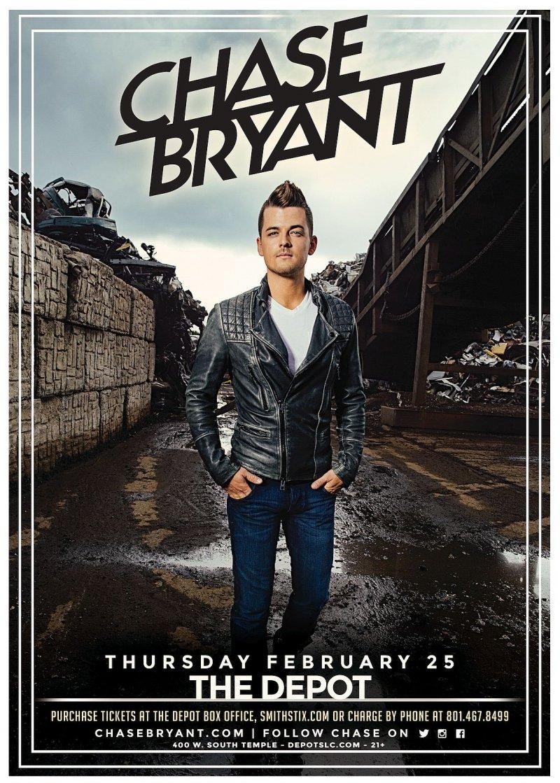 Bryant CHASE BRYANT 2016 Gig POSTER Salt Lake City Concert Utah