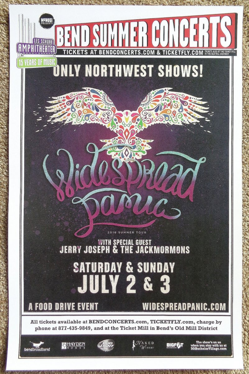 Image 0 of WIDESPREAD PANIC 2016 Gig POSTER Bend Oregon Concert