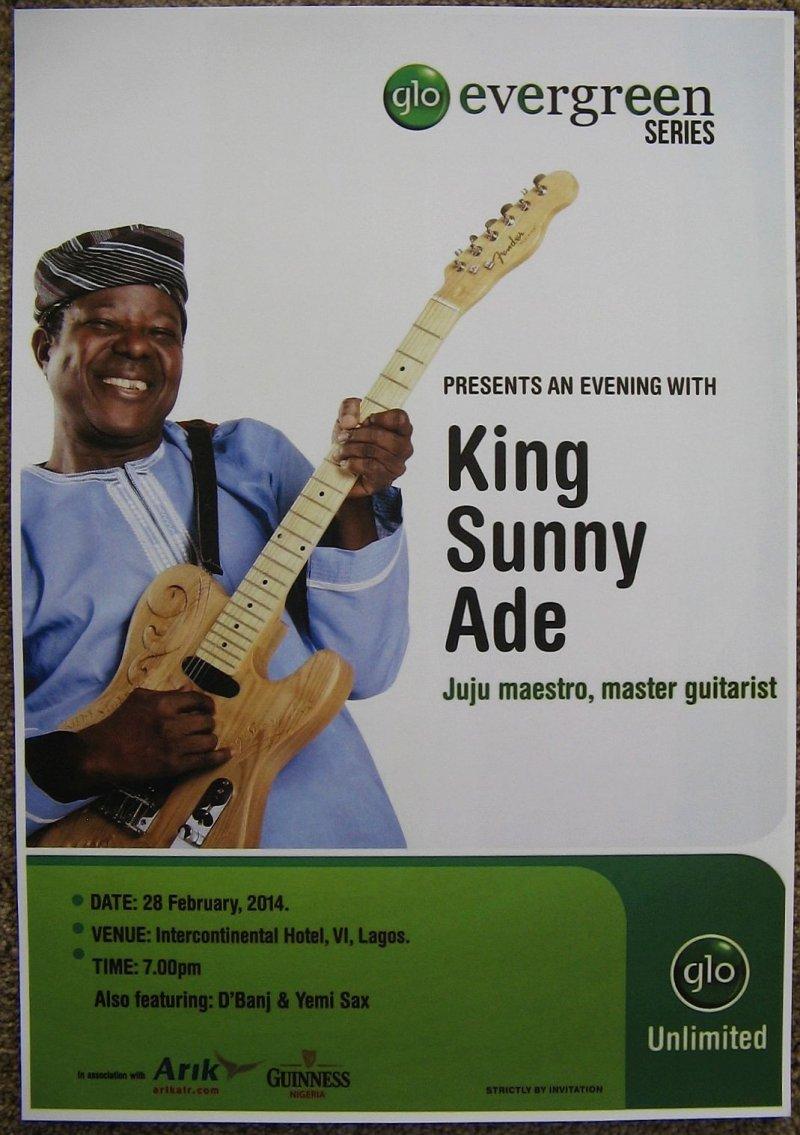 Ade KING SUNNY ADE 2014 Gig POSTER Lagos Nigeria Concert