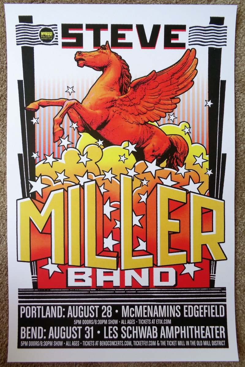Image 0 of Miller STEVE MILLER BAND 2016 Gig POSTER Bend Edgefield Portland Oregon Concert
