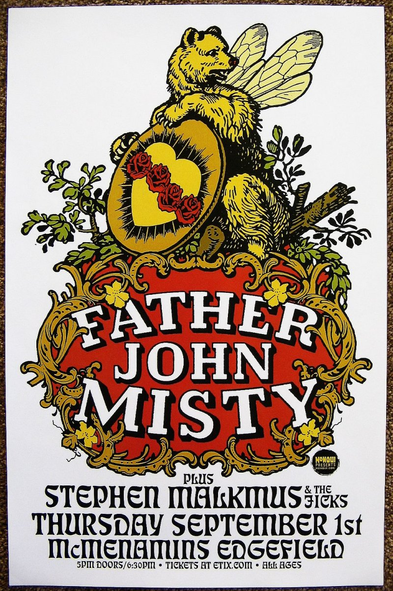 Image 0 of FATHER JOHN MISTY 2016 Gig POSTER Edgefield Portland Oregon Concert
