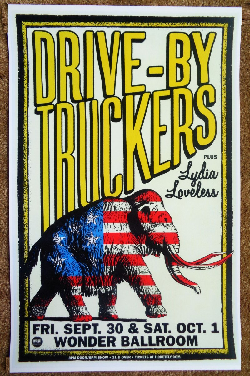 Image 0 of DRIVE-BY TRUCKERS Gig 2016 POSTER Portland Oregon Concert Drive By