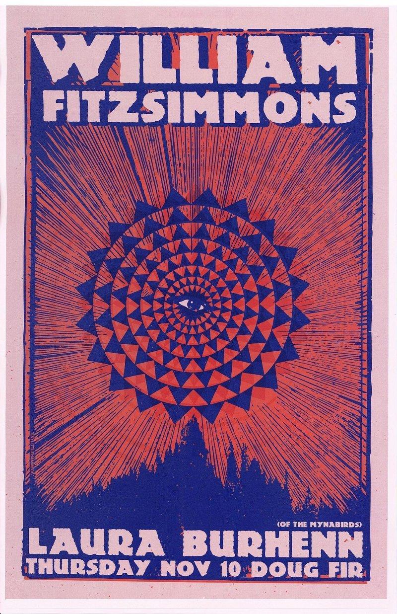 Image 0 of Fitzsimmons WILLIAM FITZSIMMONS 2016 Gig POSTER Portland Oregon Concert