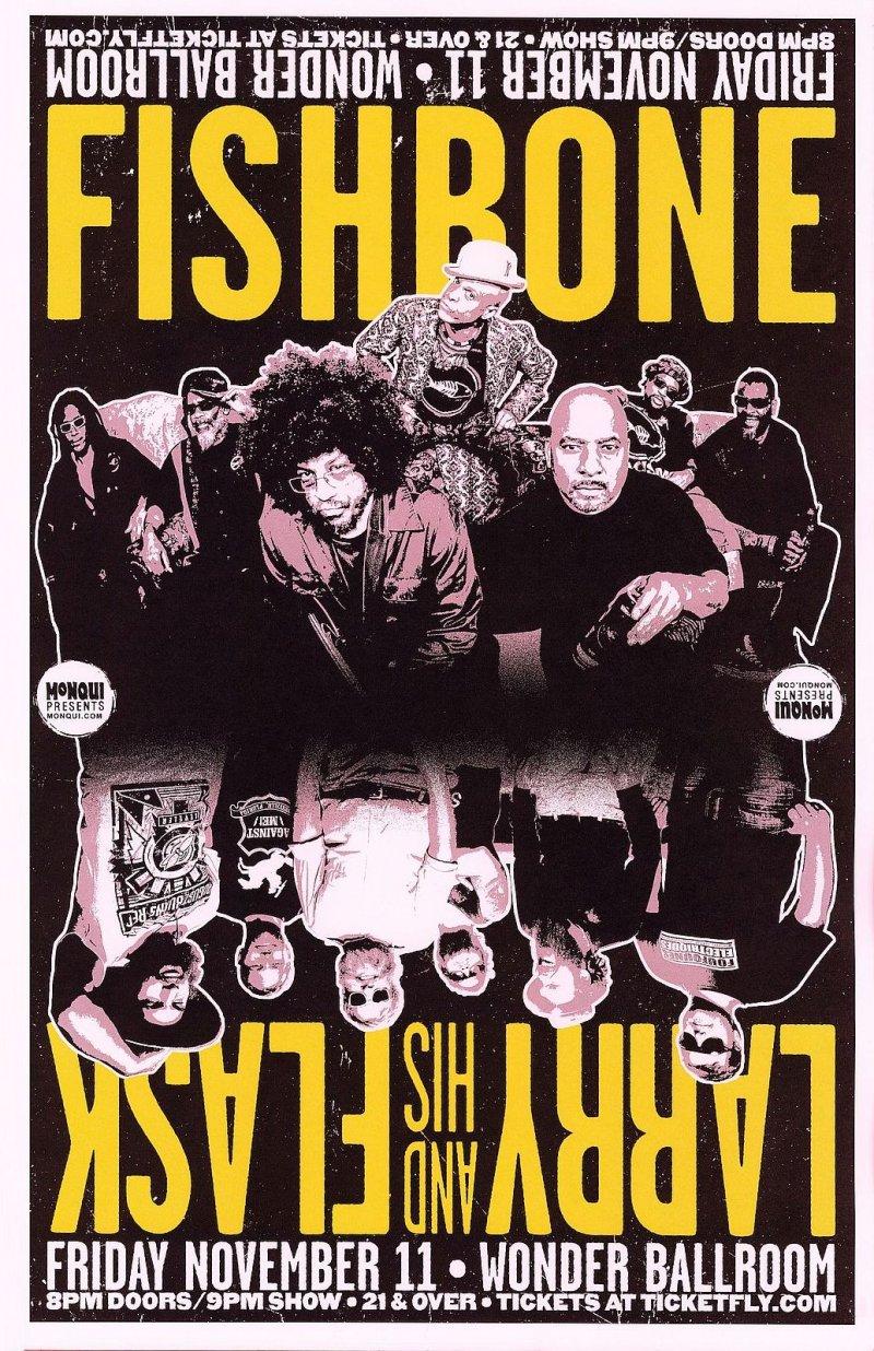 Image 0 of FISHBONE & LARRY AND HIS FLASK 2016 Gig POSTER Portland Oregon Concert