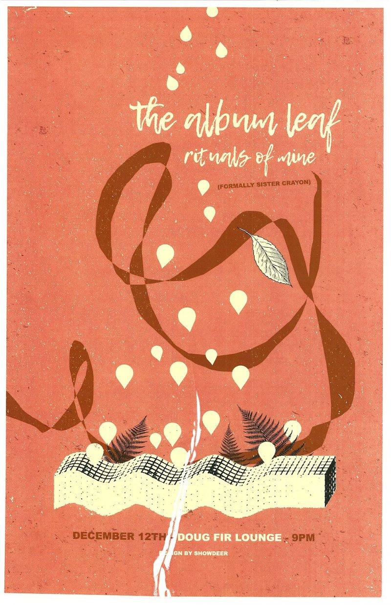 ALBUM LEAF 2016 Gig POSTER Portland Oregon Concert Jimmy LaValle