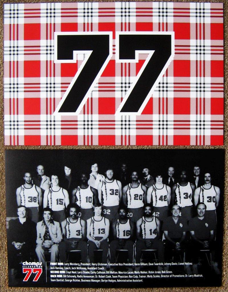 Portland Blazers Championship POSTER 1976-77 Reunion Handout Trailblazers SGA