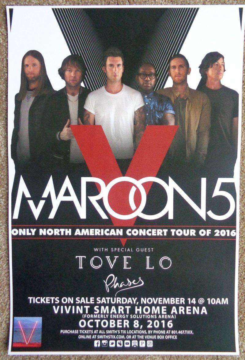 Image 0 of MAROON 5 Gig 2016 POSTER Salt Lake City Utah Concert