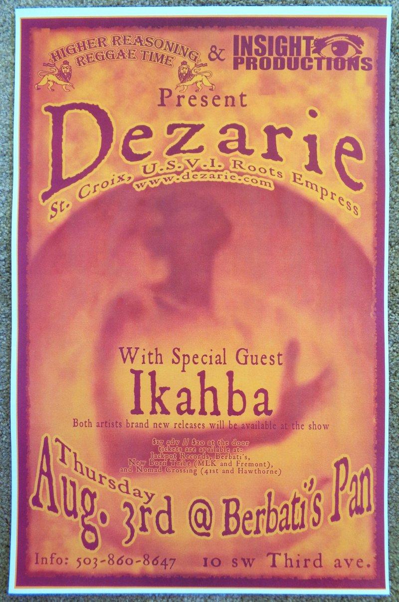 DEZARIE Gig POSTER Portland Oregon August 2006 Concert Reggae