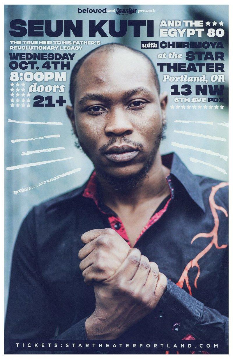 Kuti SEUN KUTI 2017 Gig POSTER Portland Oregon Concert Nigeria