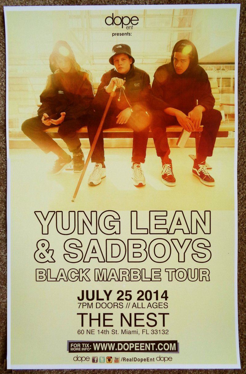 Image 0 of YUNG LEAN SADBOYS 2014 Gig POSTER Miami Florida Concert