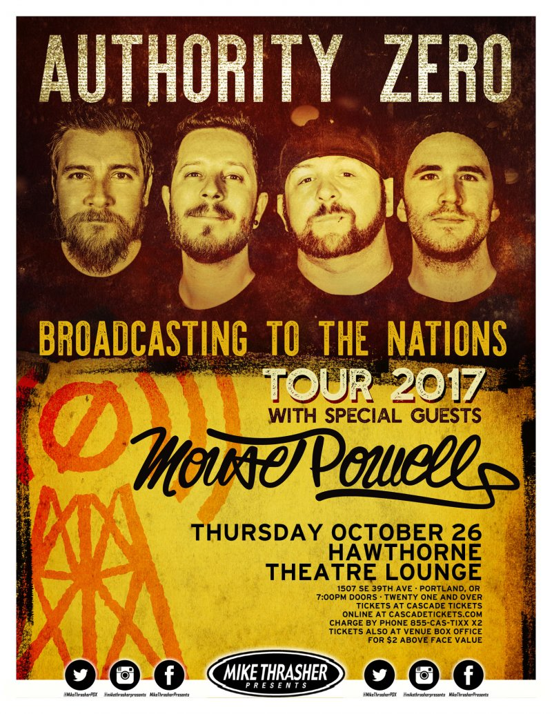 AUTHORITY ZERO 2017 Gig POSTER Portland Oregon Concert