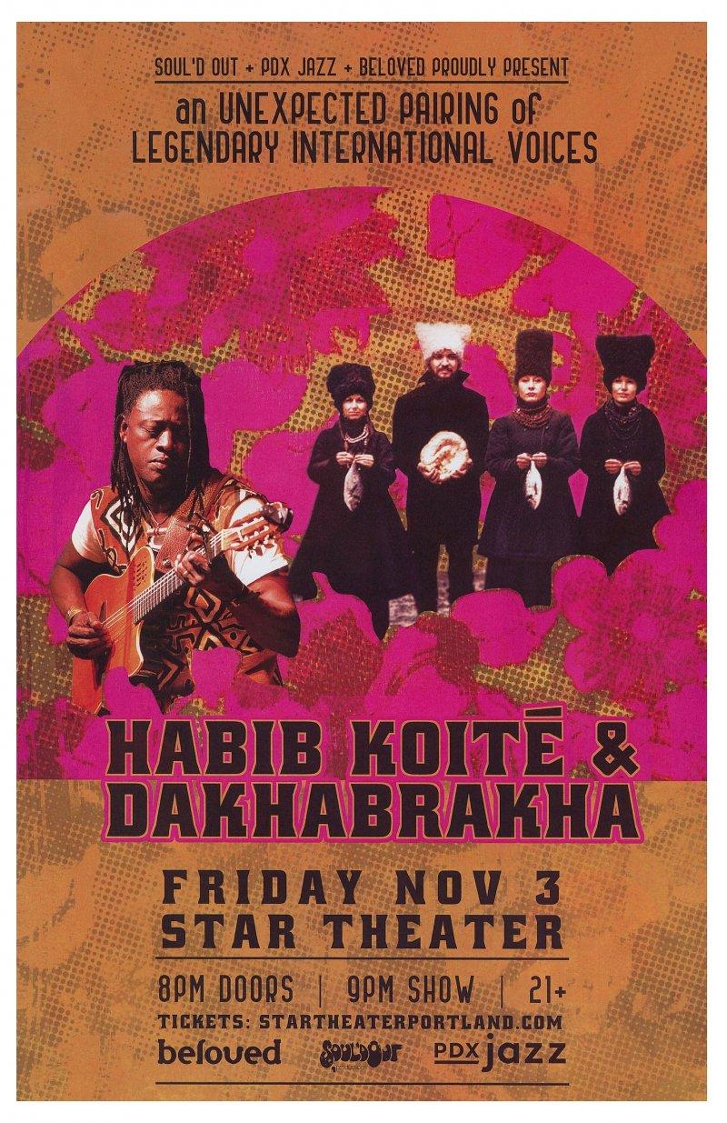 DAKHABRAKHA & HABIB KOITE 2017 Gig POSTER Portland Oregon Concert Ukraine