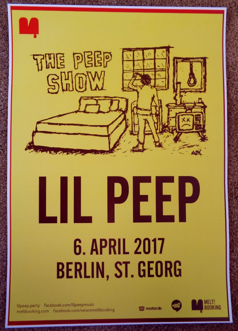 Image 0 of LIL PEEP 2017 Gig POSTER Berlin Germany Concert