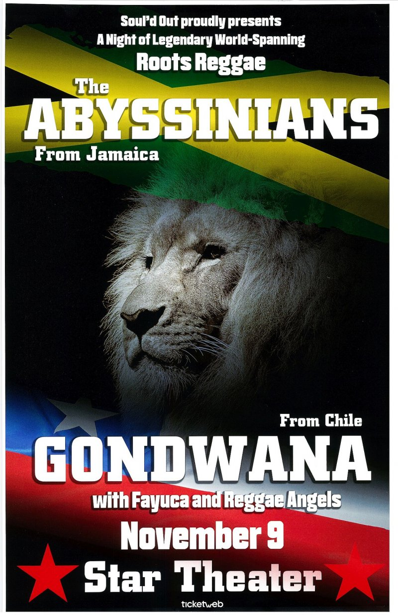 Abyssians THE ABYSSINIANS & GONDWANA 2017 Gig POSTER Portland Oregon Concert
