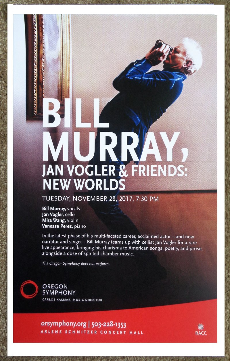 JAN VOGLER & BILL MURRAY 2017 Gig POSTER Portland Oregon Concert