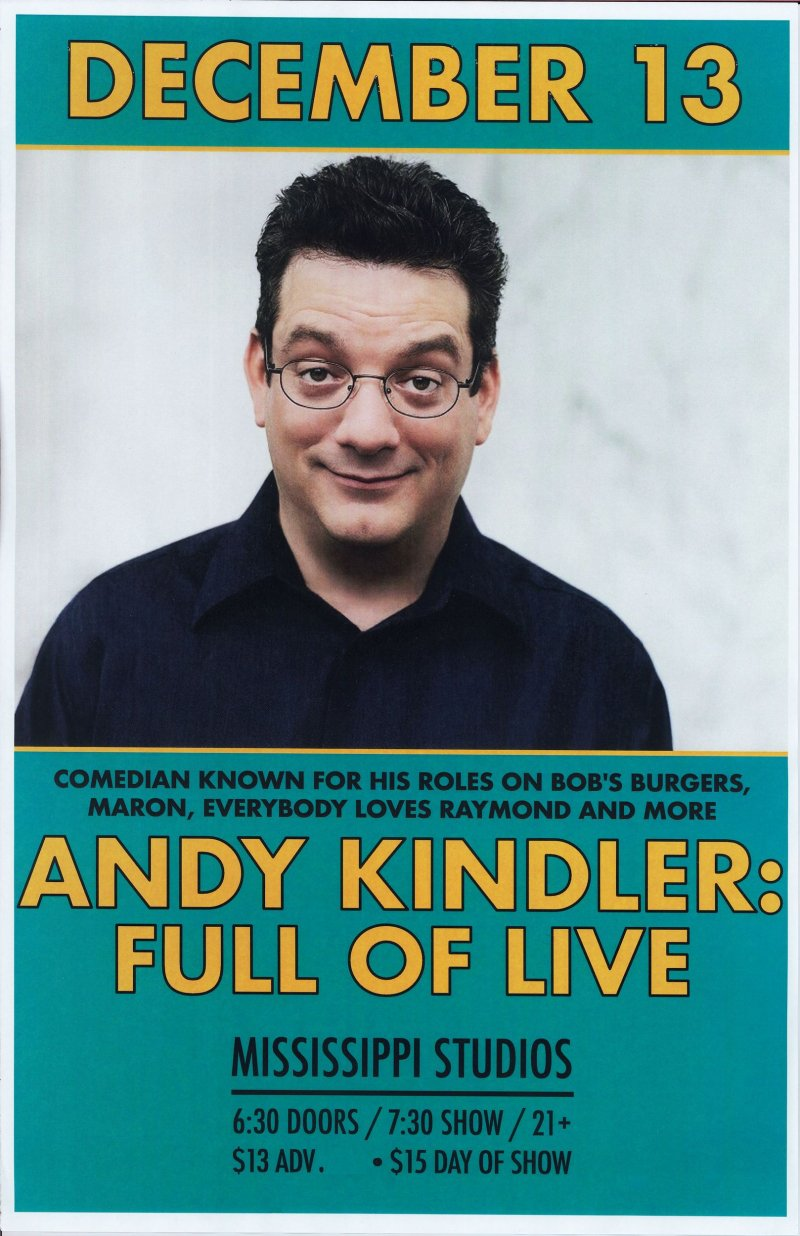 Image 0 of Kindler ANDY KINDLER 2017 Gig POSTER Comedy Portland Oregon 11x17