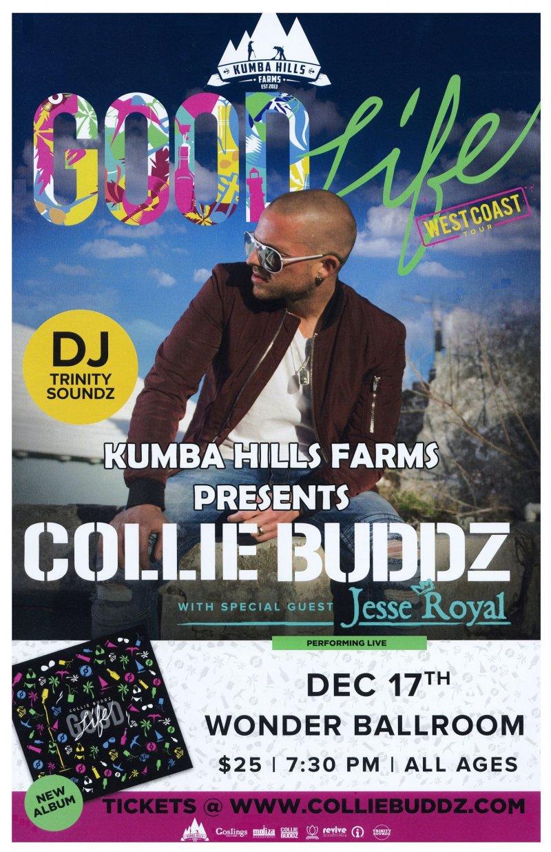 Buddz COLLIE BUDDZ 2017 Gig POSTER Portland Oregon Concert